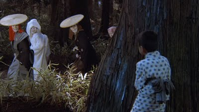 The kitsune wedding party catches the boy watching their procession. Screenshot from the movie. Image taken from LoqueCoppolaQuiera.blogspot.com