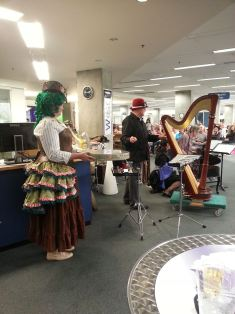 Some of the Steampunk instruments. Anastasia is the lady with green ringlets.