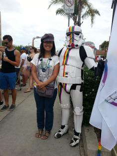 Me and the Rainbow Stormtrooper of Love at the 2014 San Diego Pride Parade.
